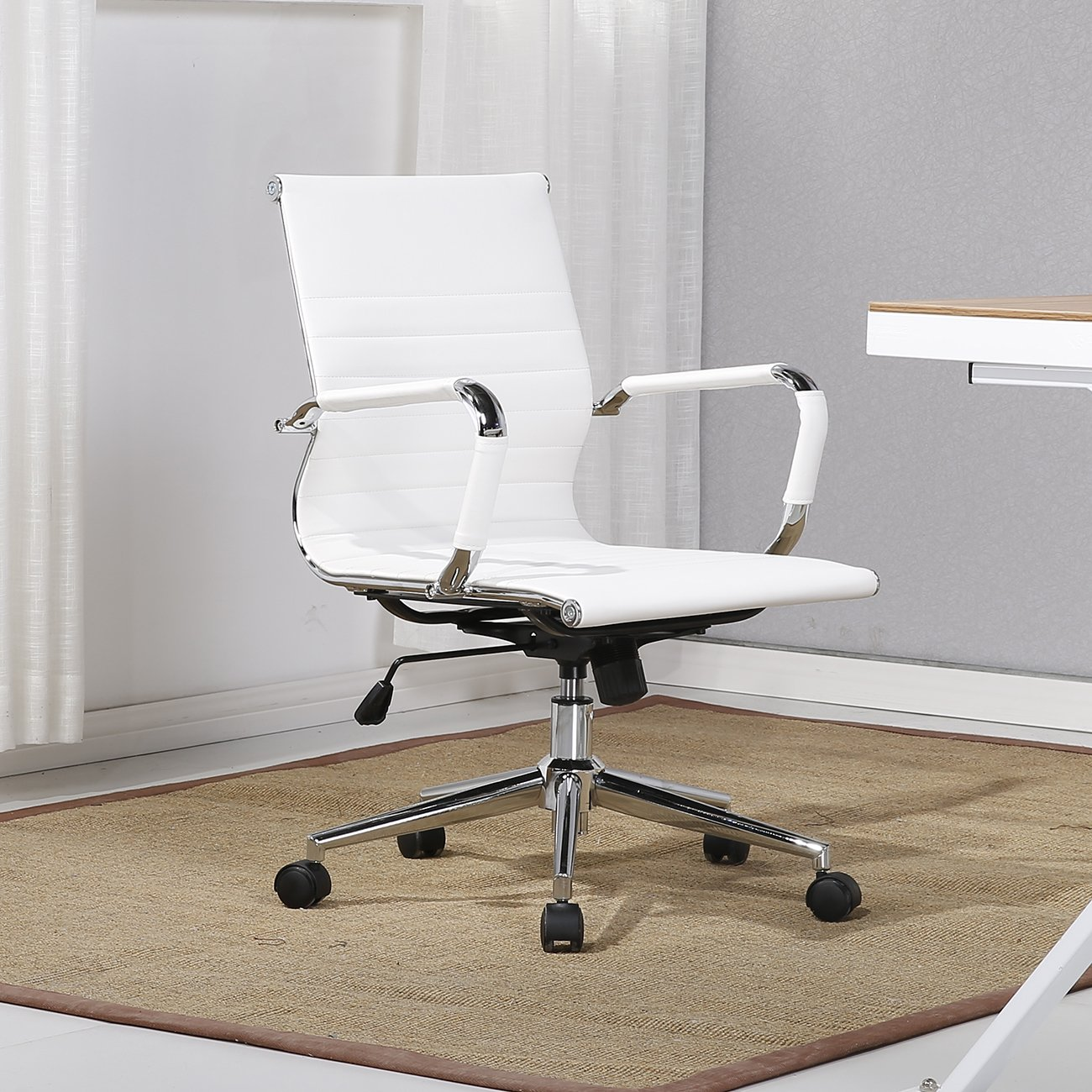 Belleze Mid-Back Ribbed Upholstered Leather Swivel w/Arm Conference Chair, White