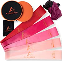 ANKHTIVE Resistance Bands Set of 5, 100% Natural Latex, Bundle with Gliding Discs Exercise Sliders, Cooling Towel & Carrying Bag. Portable Fitness Starter Kit for Home and Outdoor Workout