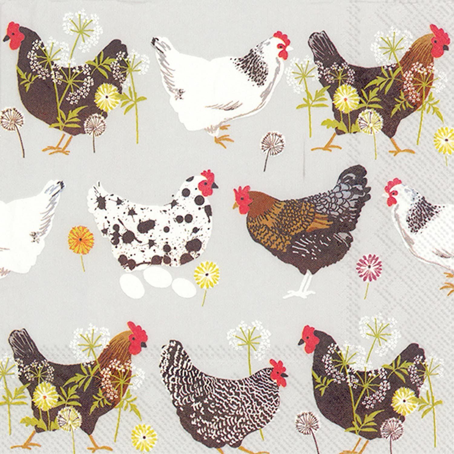 Ideal Home Range 20 Count Spatter Hens Grey Paper Luncheon Napkins