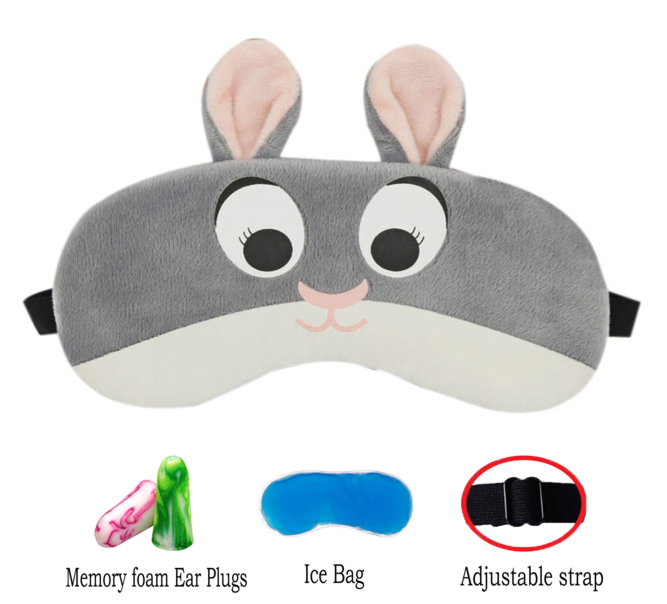 Cute Animal Sleep Mask by Hitos | Eye Mask with Gel Pad, Super Soft and Light Sleep Mask with Adjustable Strap for Insomnia, Sleep and Shift Work Sleep for Women and Kids (Bunny Judy)