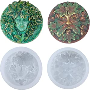 Greenman and Greenwoman Plaque Sculpture Silicone Molds Set for Fondant Cake Decoration, Epoxy Resin Jewelry Casting, Polymer Clay Concrete Cement Craft 2inch
