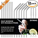 Stainless Steel Straws FDA-Approved Ultra Long 8.5'' Drinking Metal Straws for 20oz Stainless Tumblers Rumblers Cold Beverage (6 Straight + 6 Bent + 3 Brushes)