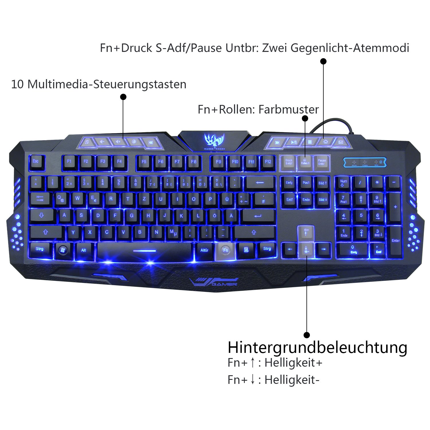 Gaming Tastatur und Maus Set, MFTEK USB Verdrahtete LED: Amazon.de ...