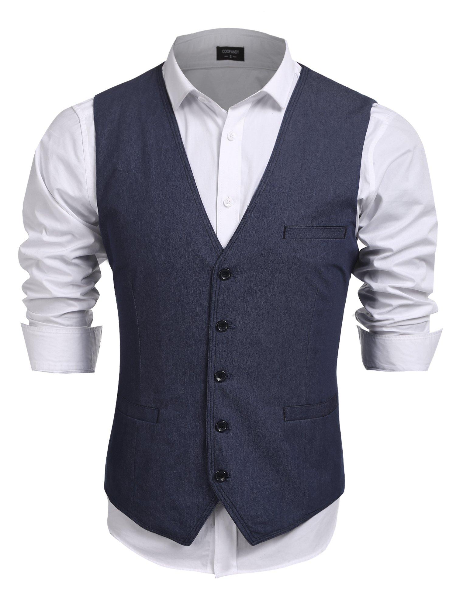 Jinidu Men's Outdoors Waistcoat Vest Casual V-neck Sleeveless Slim Fit Denim Vests