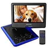 "DBPOWER 9.5"" Portable DVD Player, 5 Hour Rechargeable Battery, Swivel Screen, Supports SD Card and USB, Direct Play in Formats AVI/RMVB/MP3/JPEG (Blue)"