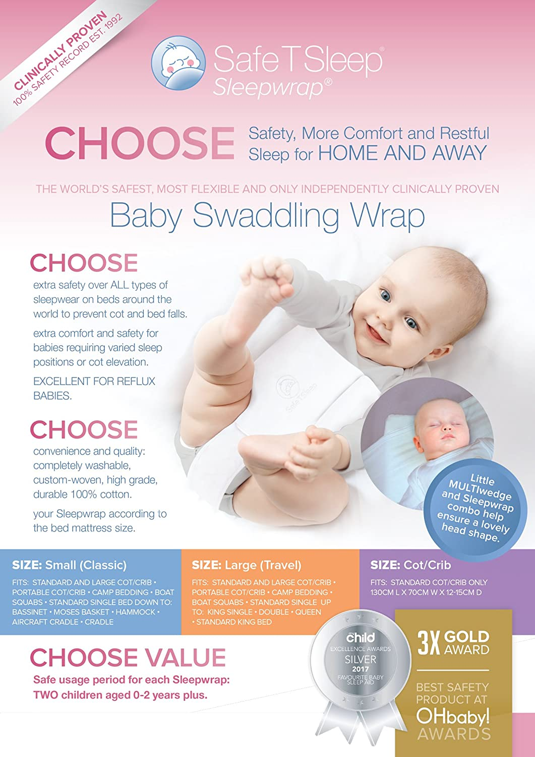 0b003cd17 Amazon.com  Safe T Sleep Sleepwrap Babywrap Swaddle   CLASSIC  Model ...