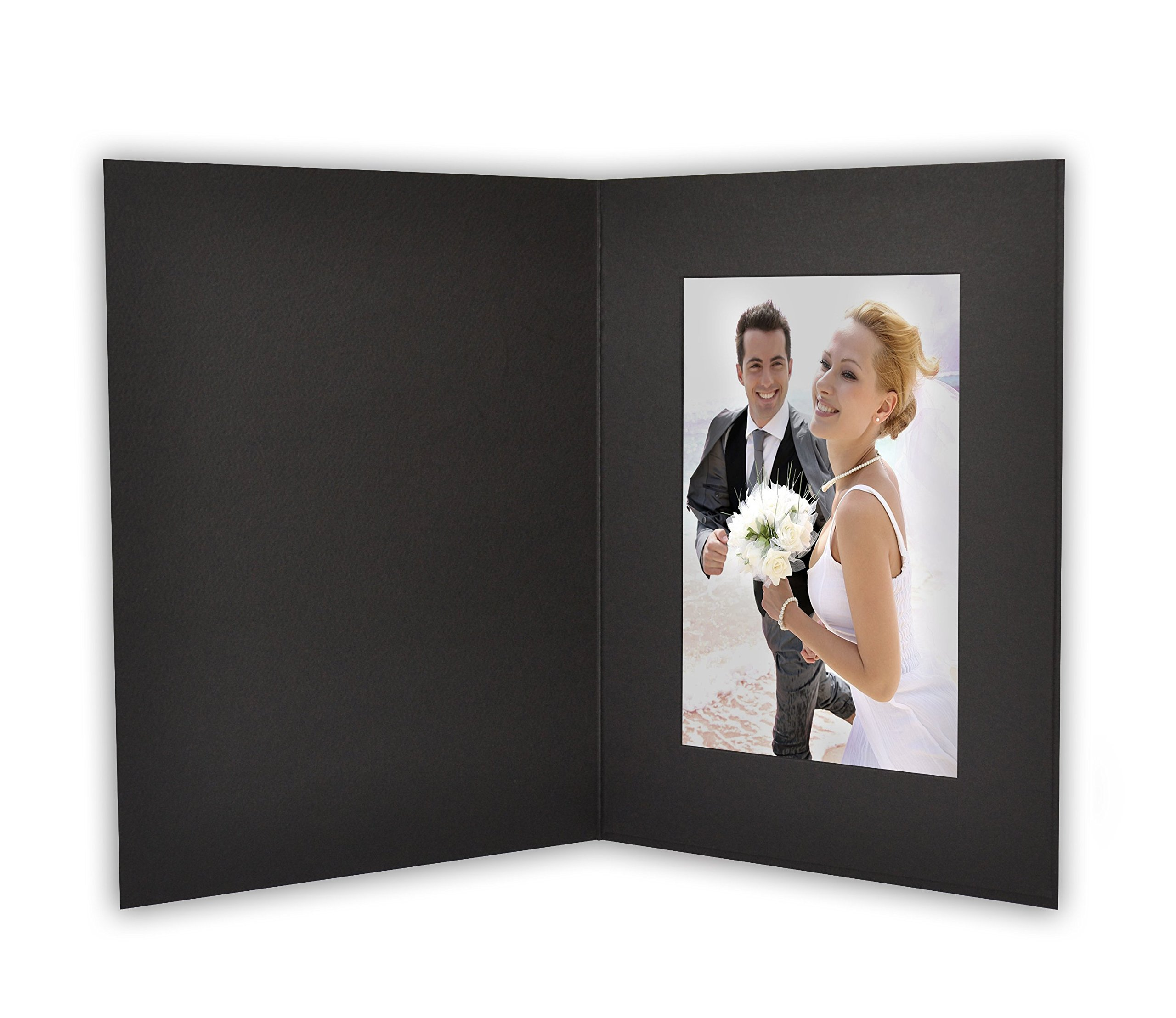 Golden State Art, ANGEL PRINT Cardboard Photo Folder For a 4x6 Photo (Pack of 50) GS007 Black Color