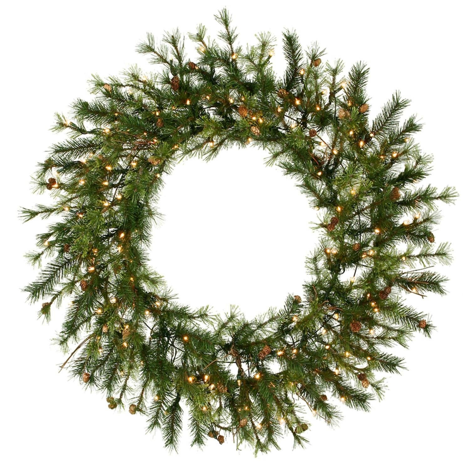 Vickerman 60'' Pre-Lit Mixed Country Pine Commercial Christmas Wreath - Clear Dura Lights