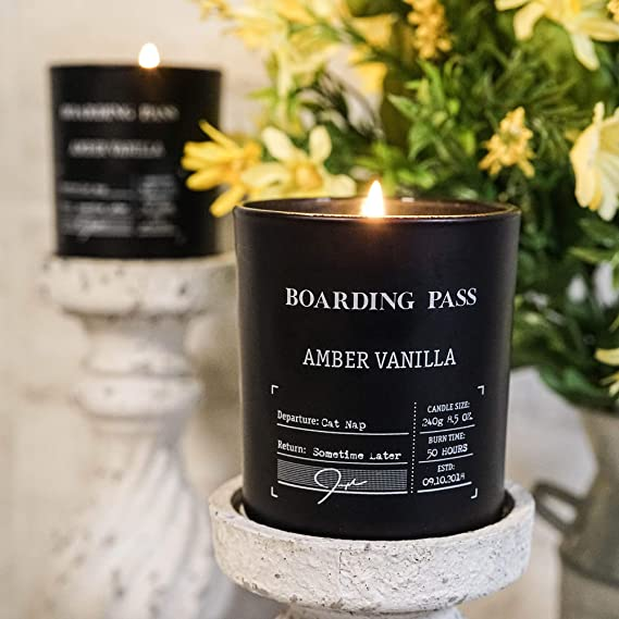 Boarding Pass Cat Nap Amber Vanilla Sandalwood Scented Candle Black 8.5oz