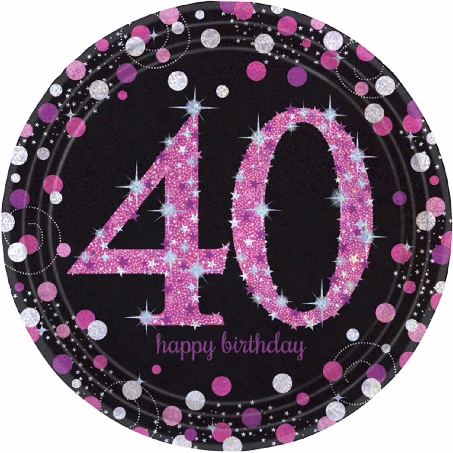 Rose Gold 40th Birthday Party Supplies Tableware /& Decorations Glitz Age 40