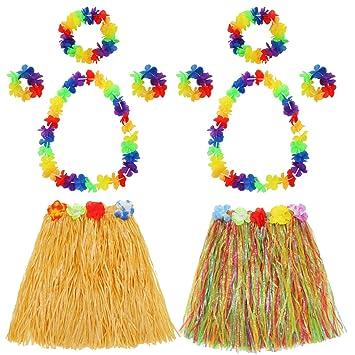 123b497f661f Hula Grass Skirt with Flower Leis Costume Set, Elastic Luau Grass and Hawaiian  Flower Bracelets
