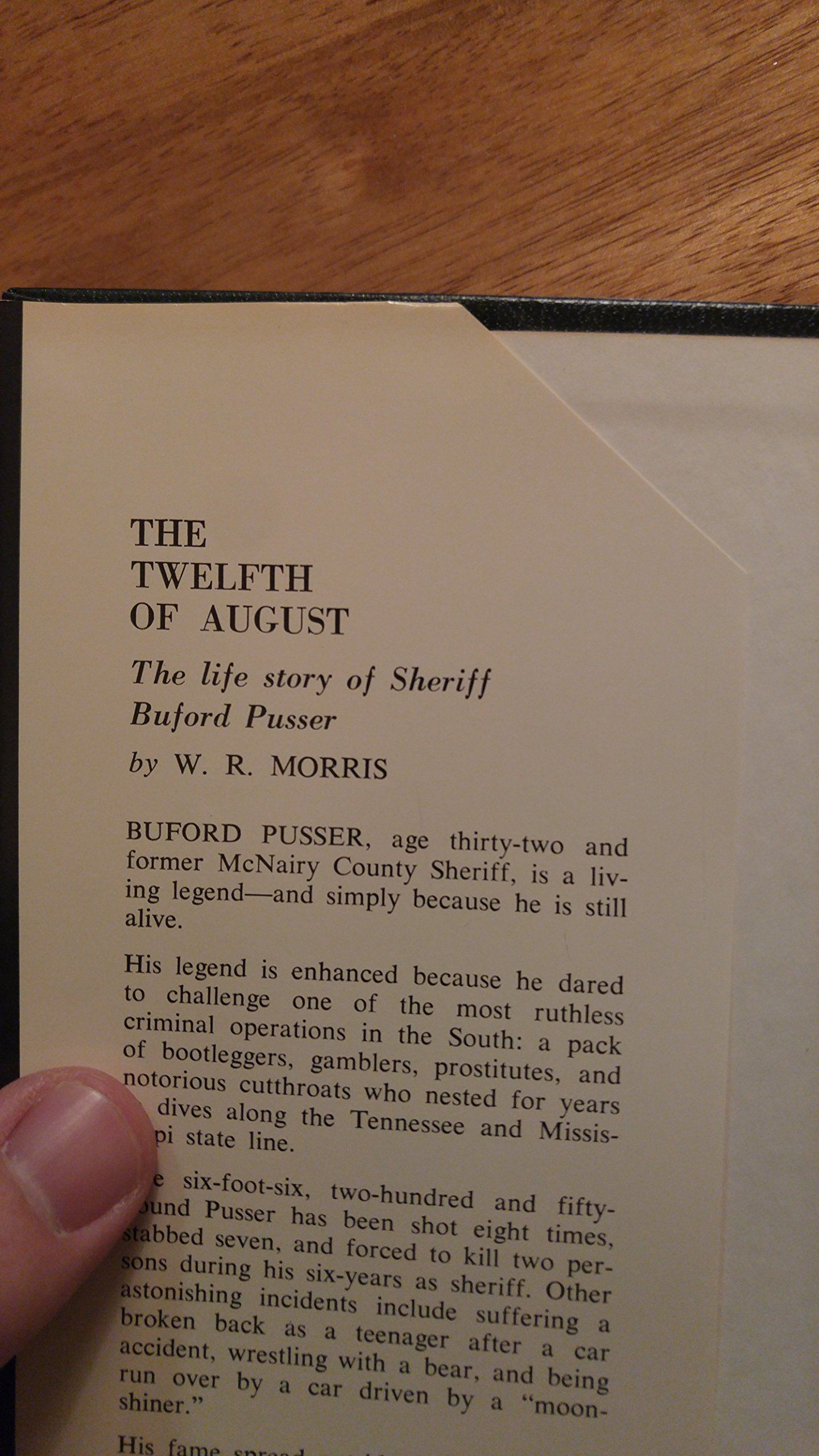 The Twelfth Of August: The Story Of Buford Pusser: W R Morris:  9780876951217: Amazon: Books