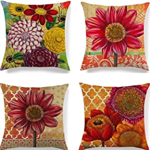 Summer Pillow Covers Decorative Floral Throw Pillow Cover 18x18 Inch Sunflower Pillowcases Soft Cotton Linen Farmhouse Cushion Covers for Outdoor Couch Sofa Bed Patio Car Home Set of 4.