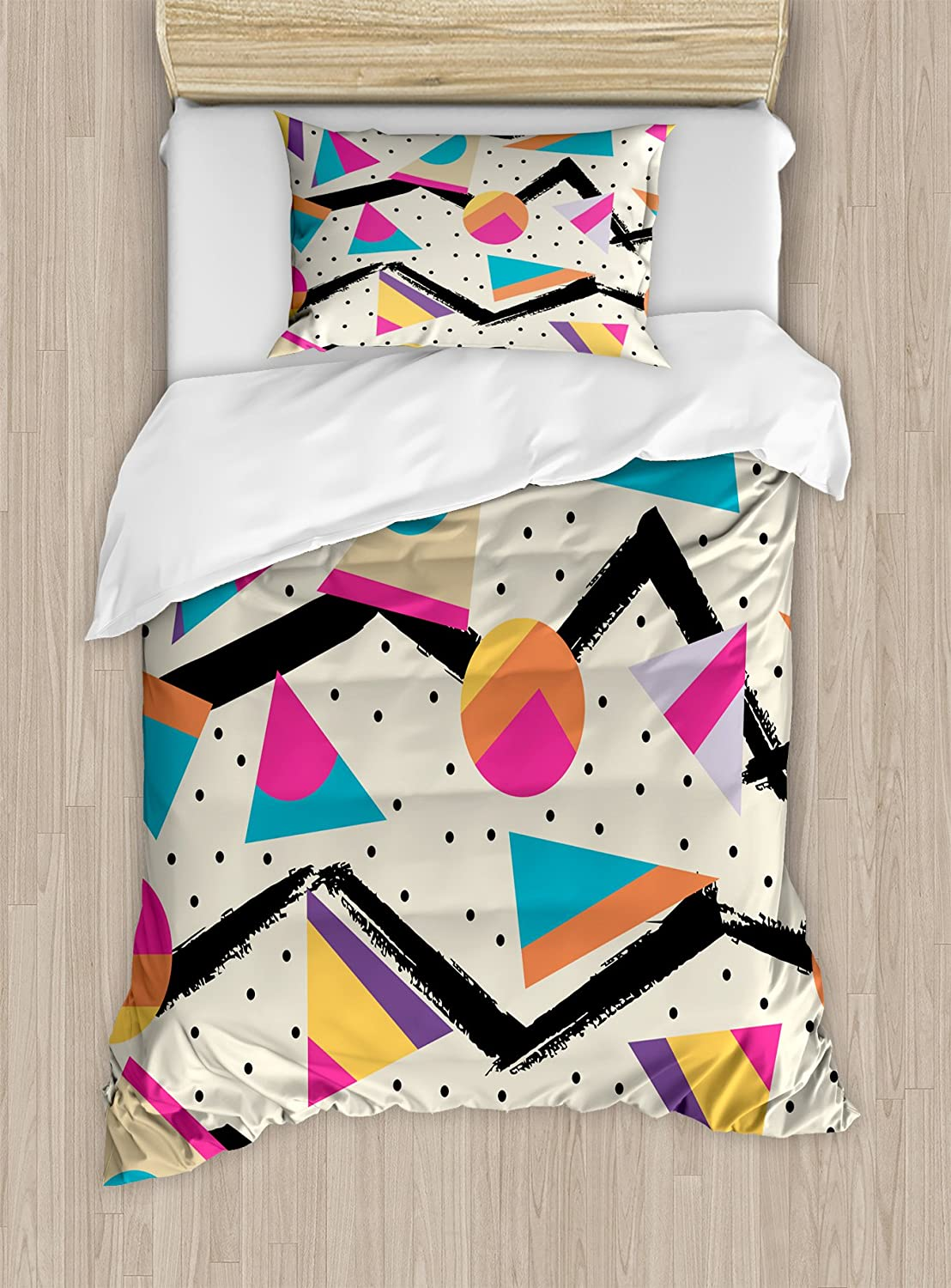 Ambesonne Indie Duvet Cover Set, Eighties Memphis Fashion Style Geometric Abstract Colorful Design with Dots Funky, Decorative 2 Piece Bedding Set with 1 Pillow Sham, Twin Size, Cream Pink