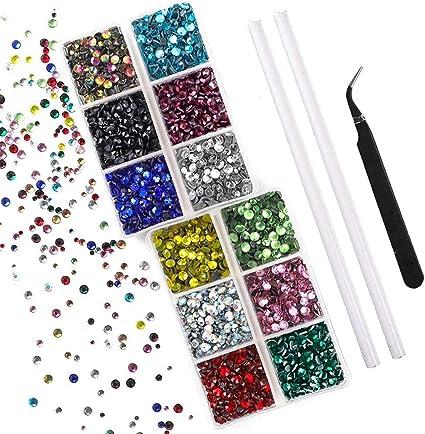6mm Pegar en Gemas De Diamante Cristal Gema Craft Autoadhesivo Sin Pegamento de diamantes de imitación