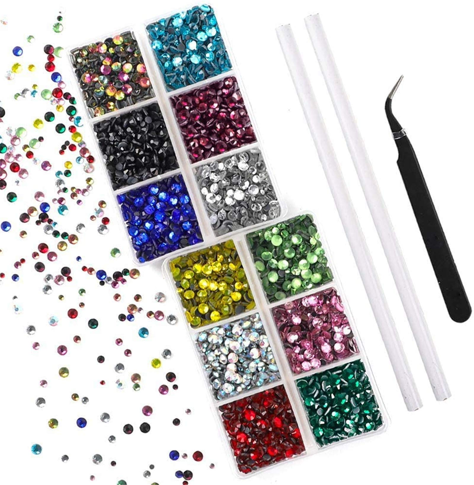 Outuxed 5400pcs Hotfix Rhinestones, 12 Colors Flatback Rhinestones Set for Crafts with Tweezers and Picking Pen, 3 Mixed Size 2-4mm