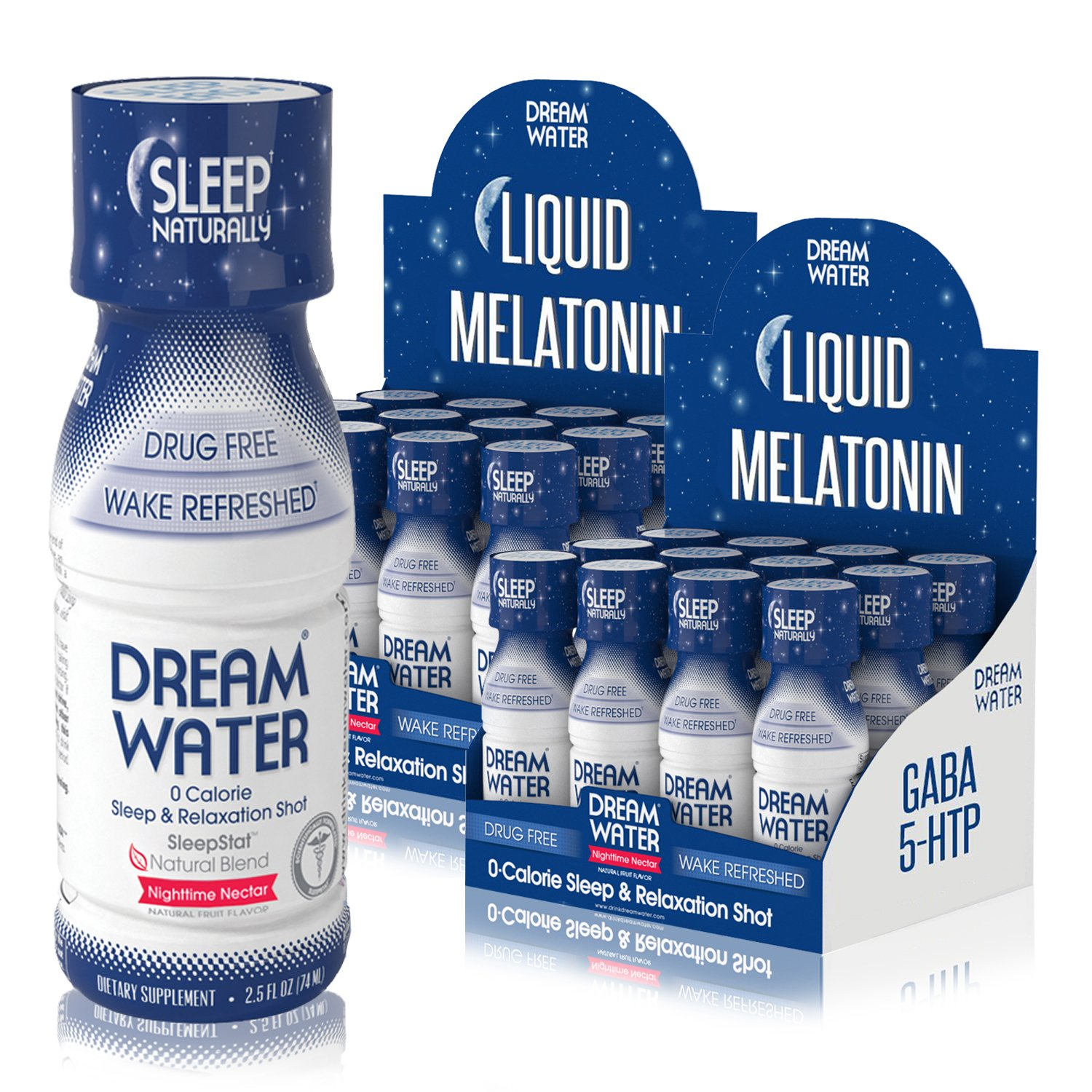 Amazon.com: Dream Water Natural Sleep Aid, GABA, MELATONIN, 5-HTP, 2.5oz Shot, Nighttime Nectar 24 Count: Health & Personal Care