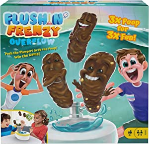 Mattel Games ​Flushin' Frenzy Overflow Kids Game with Toy Toilet, 3 Poopers, 1 Die & Instructions, Gift for Children Ages 5 Years & Older