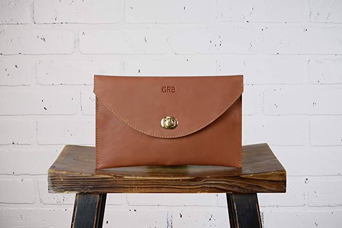 Amazon.com  Personalized Leather Envelope Clutch Leather Handbag ... 9ac5a2022