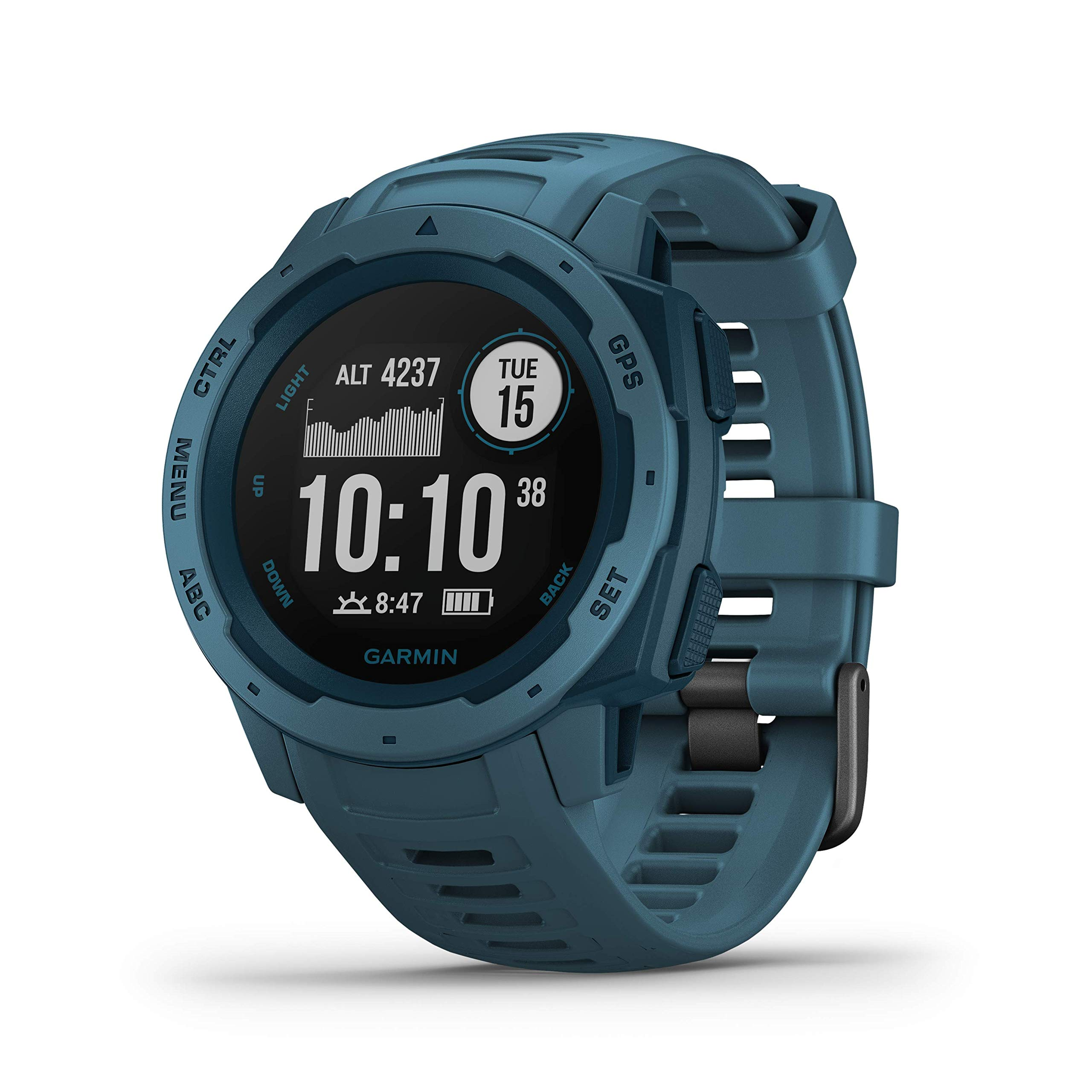 Garmin Instinct, Rugged Outdoor Watch with GPS, Features GLONASS and Galileo, Heart Rate Monitoring and 3-axis Compass, Lakeside Blue by Garmin
