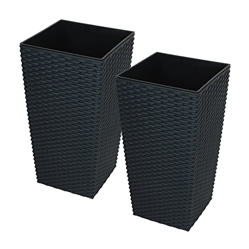 Charmant CrazyGadget Large Rattan Tall Planter Square Plastic Garden Indoor Outdoor  Flower Plant Pot (Black,