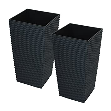 225 & CrazyGadget Large Rattan Tall Planter Square Plastic Garden Indoor Outdoor Flower Plant Pot (Black 11.4L) pack of 2.