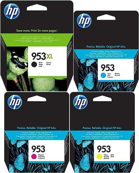 Cartuchos originales HP 953XL negro y HP 953 cian, magenta ...