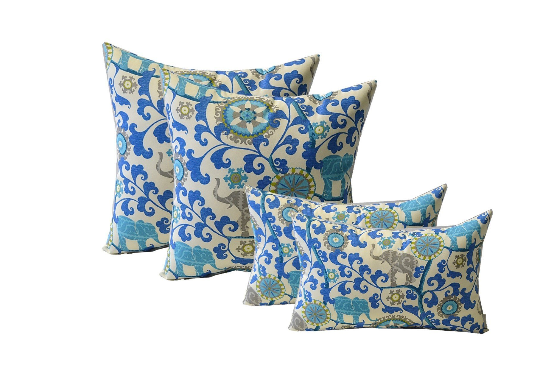 Set of 4 Indoor / Outdoor Pillows - 20'' Square Throw Pillows & Rectangle / Lumbar Decorative Throw Pillows - Sapphire Blue, Green, Turquoise, Gray Bohemian Elephant Fabric - Zipper Covers + Inserts