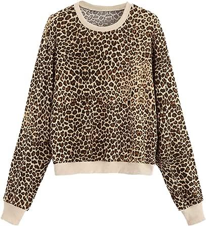 SweatyRocks Women's Causal Sweatshirt Crew Neck Leopard Long Sleeve Pullovers Shirt