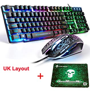 59d50456a4a LexonElec T8 UK Layout Gaming Keyboard and Mouse Sets Rainbow Backlit  Ergonomic Usb…