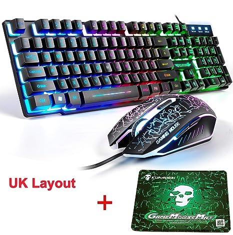 LexonElec T8 UK Disposición Juegos de teclado y mouse para juegos Retroiluminación retroiluminada Rainbow Usb Gaming