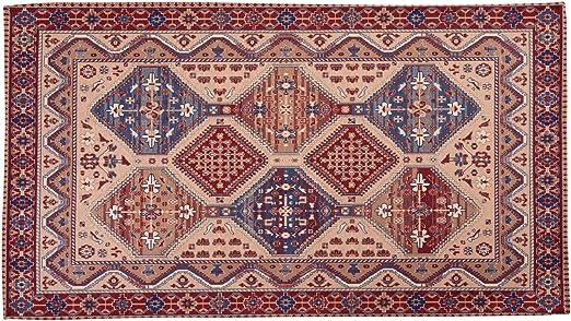 HomeLife - Alfombra de estilo persa / oriental - Alfombra de algodón para salón/dormitorio/salón con fondo antideslizante - Impresión digital de inspiración oriental - Color rojo/beige: Amazon.es: Hogar