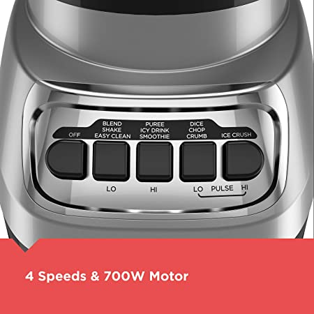 BLACK DECKER BL1230SG PowerCrush Multi-Function Blender with 6-Cup Glass Jar, 4 Speed Settings, Silver