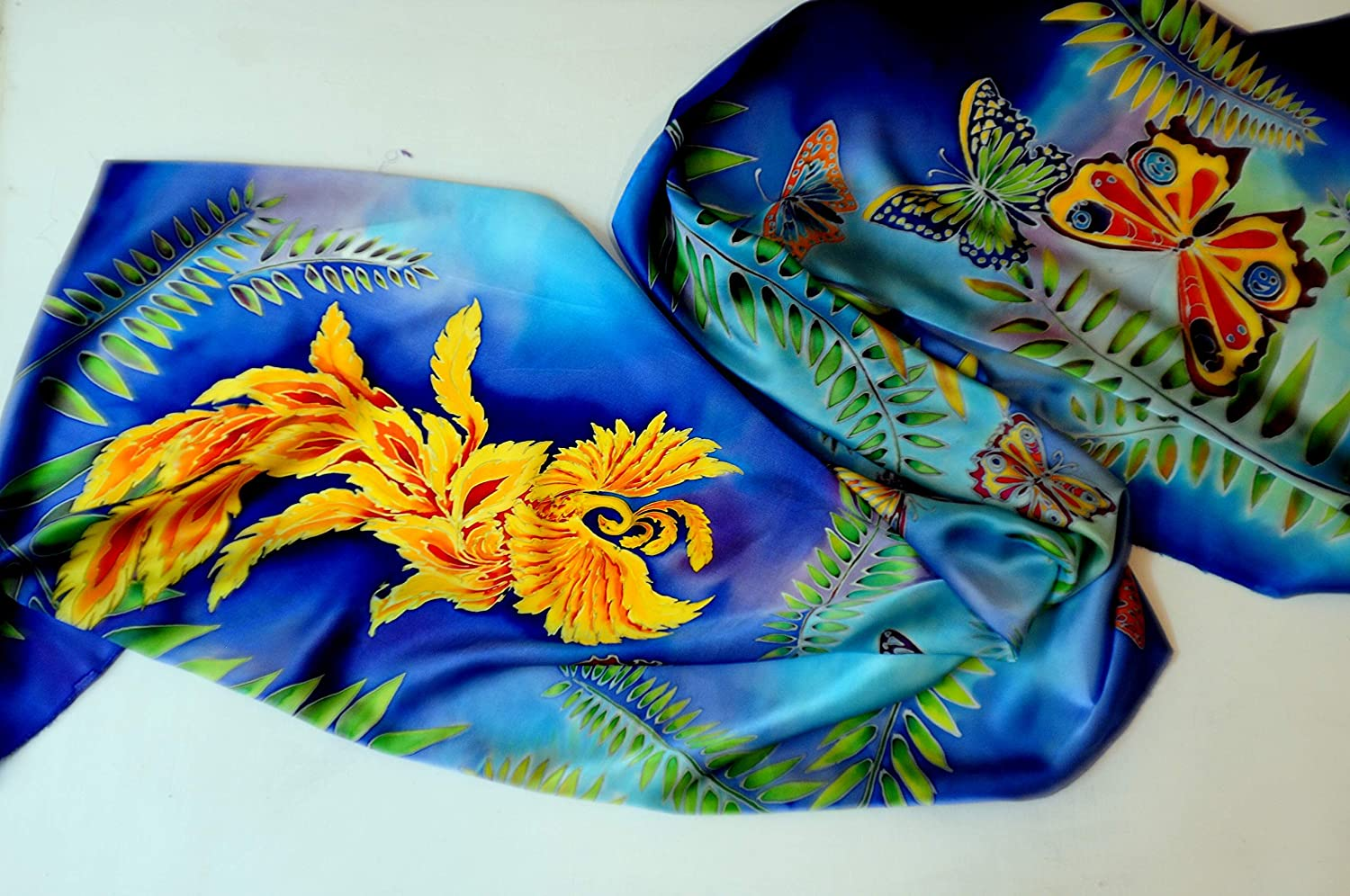 Phoenix Fantasy Silk scarf Butterfly wings Hand painted silk shawl Women gift