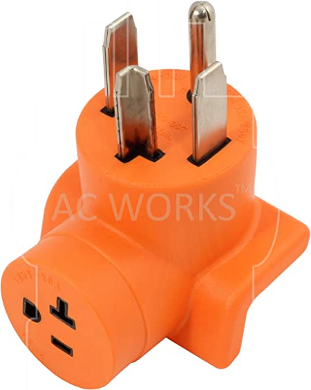 50 Amp NEMA 14-50P to 20 Amp NEMA L6-20R Range Outlet Adapter by AC WORKS™