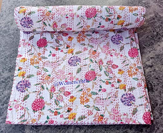 Indian Handmade Kantha Quilt Throw Vintage Cotton Bedspread Reversible Gudri