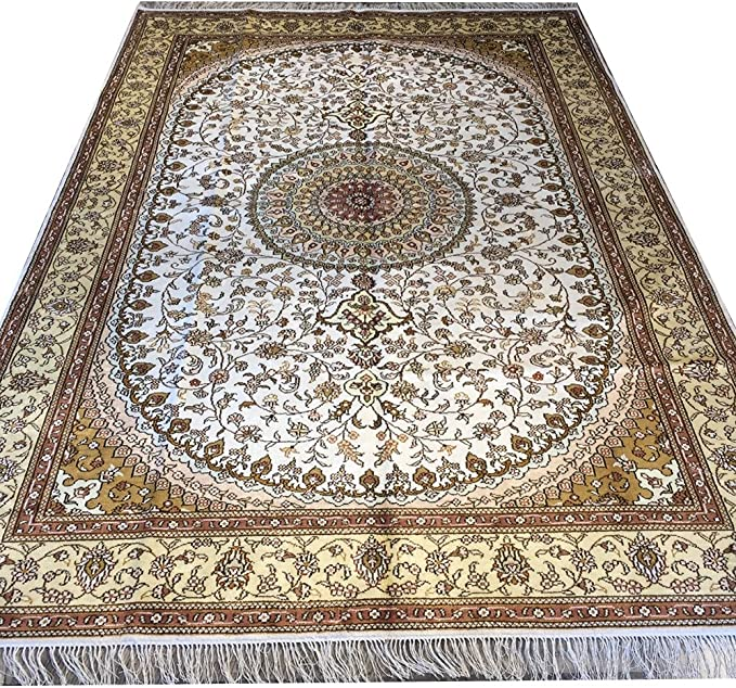 Yilong Carpet Persian Rugs Traditional Handmade Oriental Nain Medallion Flroal Design Silk Rugs Home Wy154c Furniture Decor