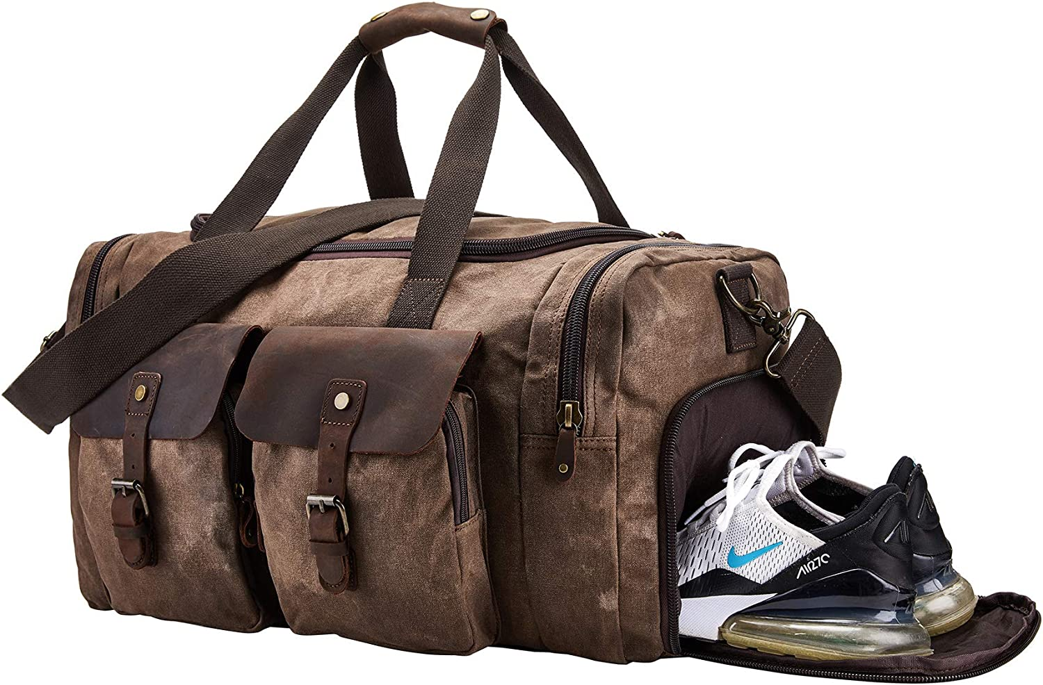 BRASS TACKS Leathercraft Men s Waxed Canvas Vintage Overnight Duffel Weekend Bag with Shoes Compartment Dark Brown