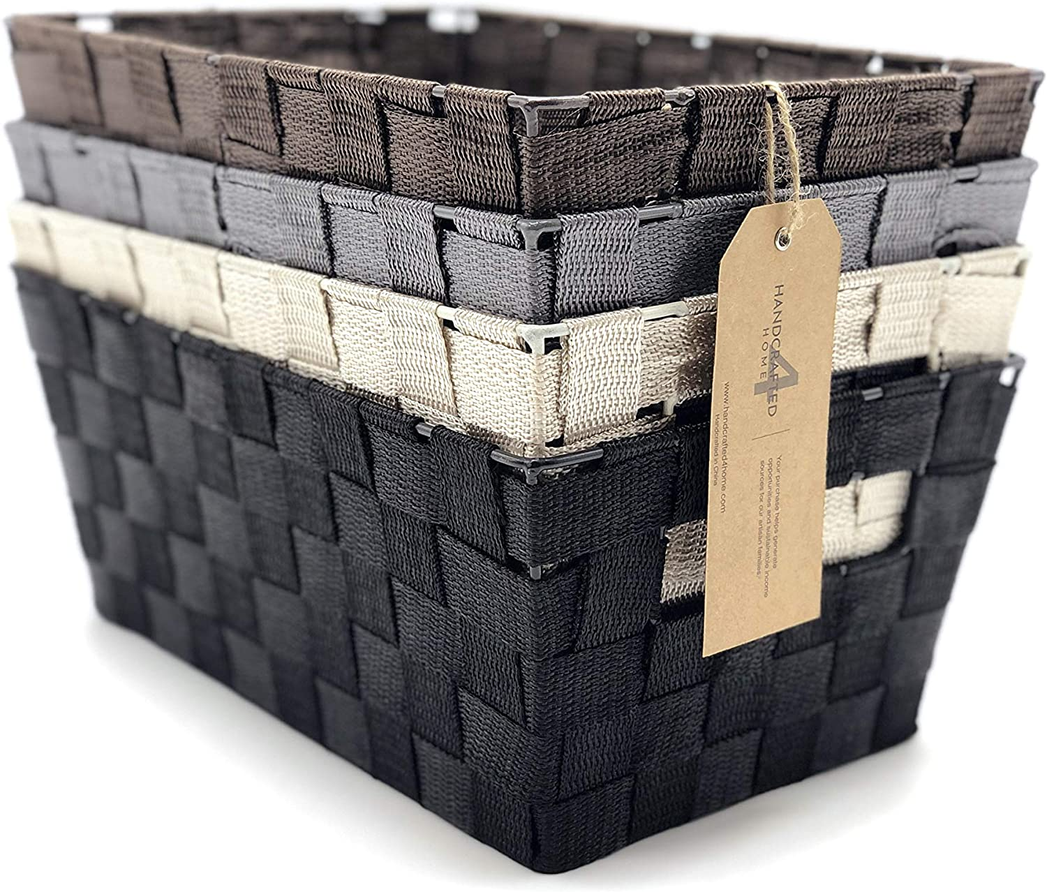 Handcrafted 4 Home GLNY4003 4-Pack Multi-Color Woven Strap Storage Baskets with Built-in Carry Handles for Shelves in Office, Bedroom, Living Room, Office