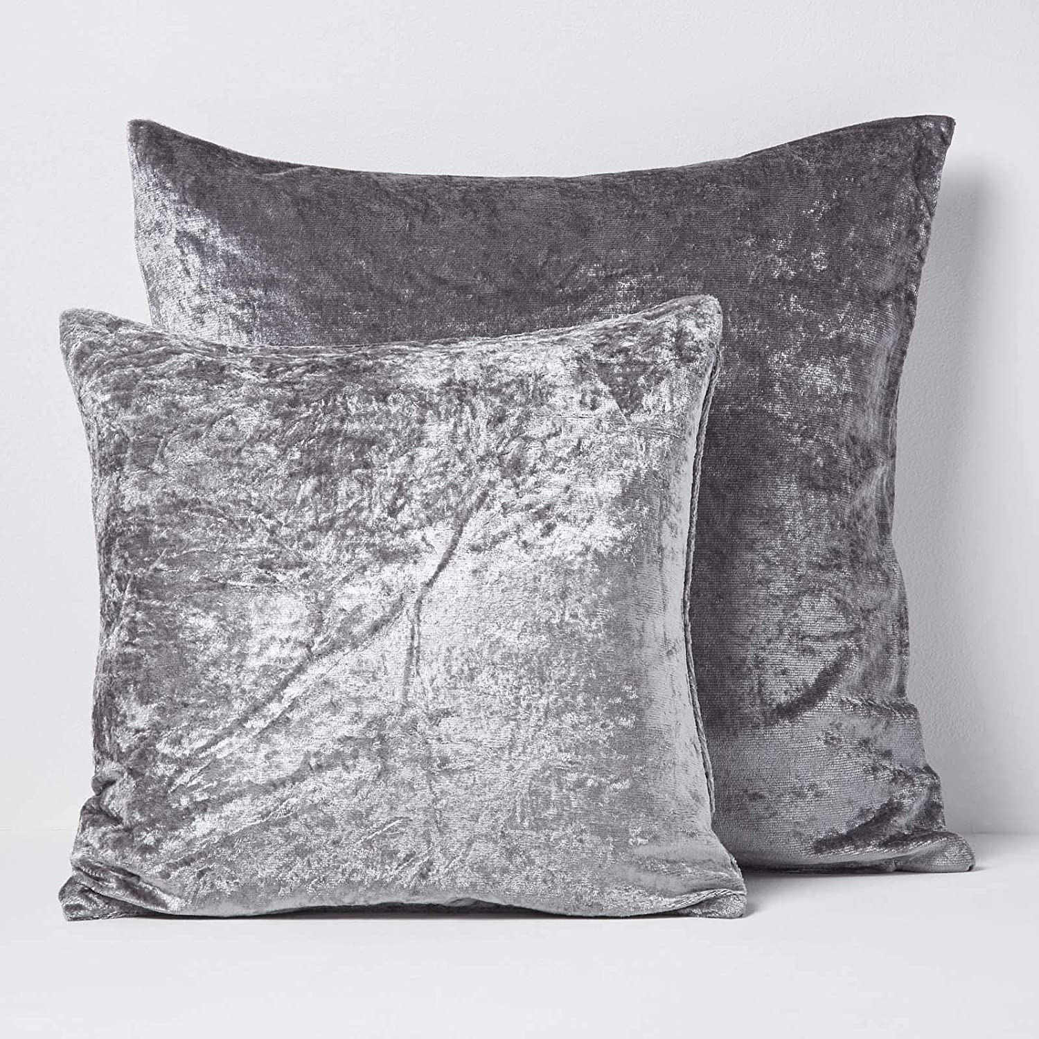 Next day post MetallicEffect SILVER GREY  Crushed Velvet 24in Cushion Cover