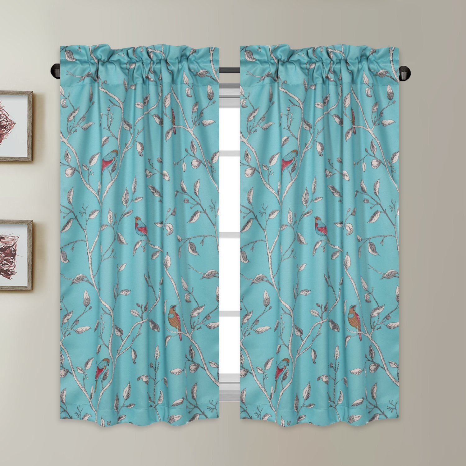 """Window Treatment Short Curtains - Pair of Home Decor Thermal Insulated Energy Smart Half Window Drapes Blackout Rod Pocket Curtain Panels - Turquoise Blue Birds Pattern - (58""""W x 45""""L Pair)"""