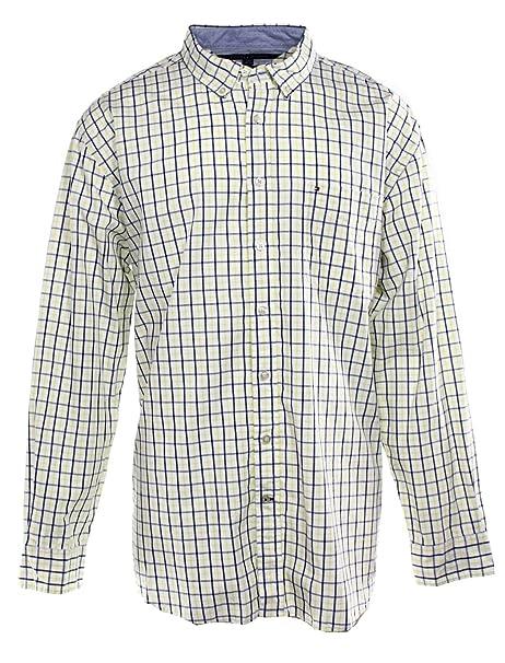 beb41378 Tommy Hilfiger Blue Mens Plaid Button-Front Shirt @847 Yellow 2XL ...