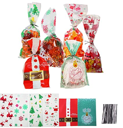 Christmas Cellophane Bags.180 Pcs Christmas Cellophane Bags With Tie Snowman Snowflake Candy Treat Cookies Bag For Party Holiday Including 200 Pcs Twist Ties