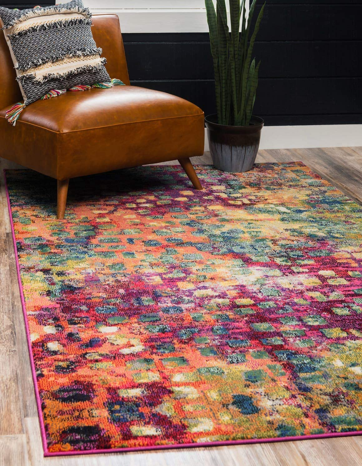 Unique Loom Jardin Collection Colorful Abstract Multi Area Rug 5 0 x 8 0