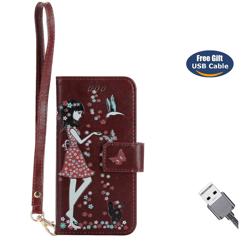 Aireratze Coque iPhone X,Housse iPhone X, en Cuir PU Housse à Rabat Coque [Matériau Lumineux Sûr] [Modèle Chat Fille] pour Femme Petite Fille Étui pour Apple iPhone X (Rouge)(+ Câble USB) G2018830LI30055