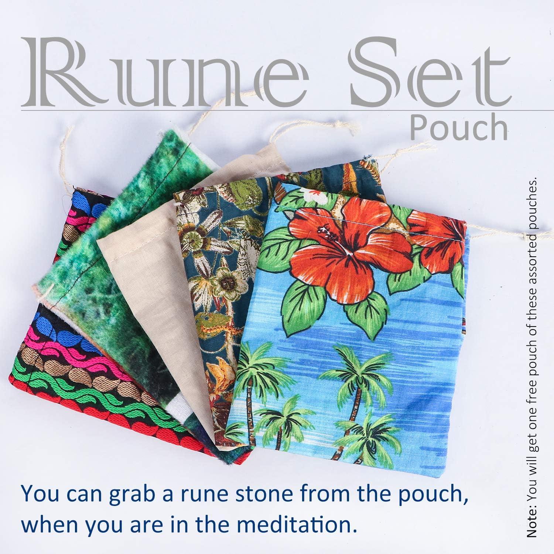 Rose Quartz cosynee Healing Gemstone Rune Stones with Velvet Pouch