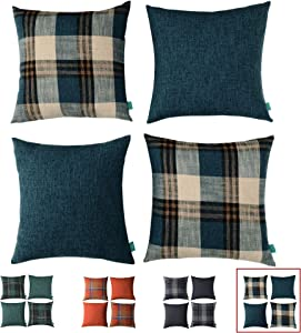 HPUK Set of 4 Buffalo Check Plaid Throw Pillow Cover Retro Farmhouse Pillowcase Square Cushion Cover for Couch, Sofa, Bed, Office, Home, Outdoor, 17 x 17 inch, Blue