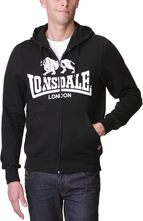 Lonsdale Herren Sweatshirt Sweatshirt Slim Fit Hooded Zip Krafty