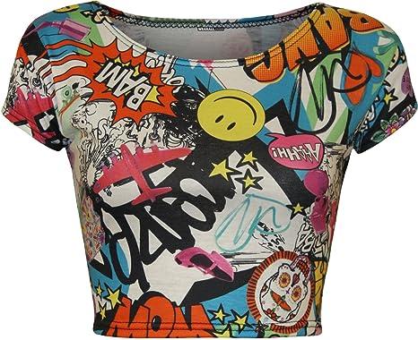 NEU Damen bedruckt Damen kurze Kappe Ärmel zugeschnitten Bauch Crop Top. UK  8–14: Amazon.de: Bekleidung
