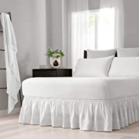 EASY FIT Embroidered Bed Skirt - Baratta Wrap Around Easy On/Off Dust Ruffle 18-Inch Drop Bedskirt, Queen/King, White